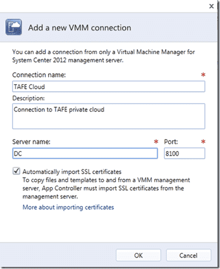 System Center 2012 App Controller - VMM Connection