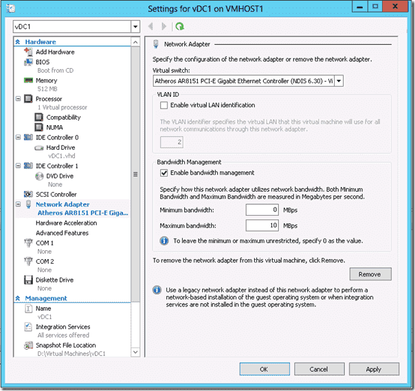 Windows Server 2012 Hyper-V -Bandwidth Management
