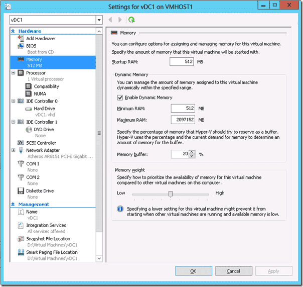 Windows Server 2012 Hyper-V - Dynamic Memory