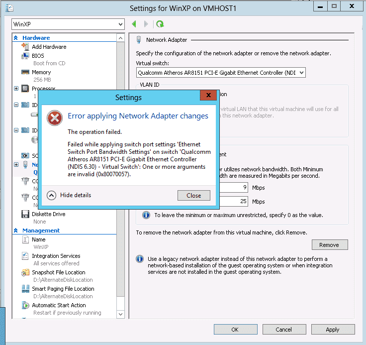 Windows Server 2012 Hyper-V – Part 2: Live Migration and network