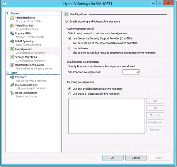 Windows Server 2012 Hyper-V - Live Migration