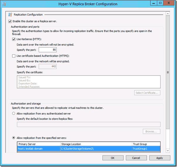 Windows Server 2012 Hyper-V Replication - Hyper-V Replica Broker Configuration