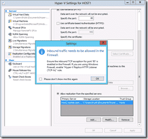 Windows Server 2012 Hyper-V Replication - Inbound traffic needs to be allowed in the firewall