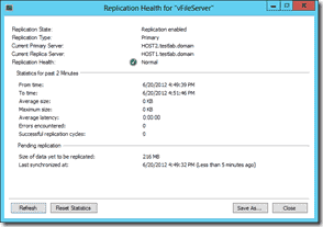Windows Server 2012 Hyper-V Replication - Replication Health