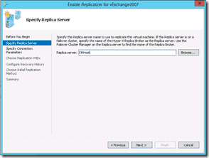 Windows Server 2012 Hyper-V Replication - Specify Replica Server