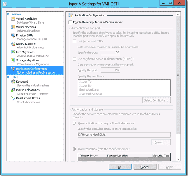 Windows Server 2012 Hyper-V - Replication