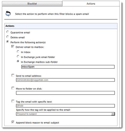 GFI MailEssentials - Specifying spam mail destination