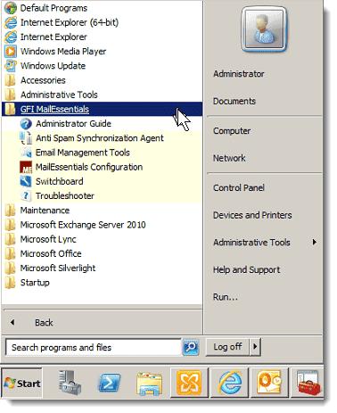 GFI MailEssentials Start menu shortcuts