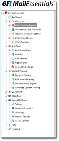 GFI MailEssentials admin panel