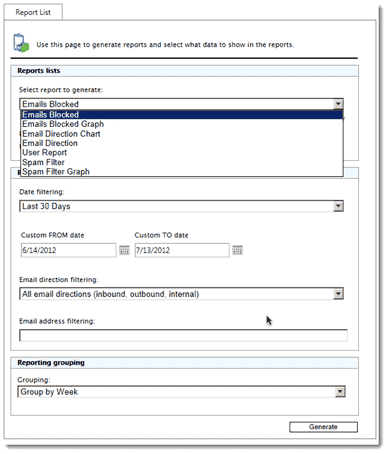 Generating GFI MailEssentials reports