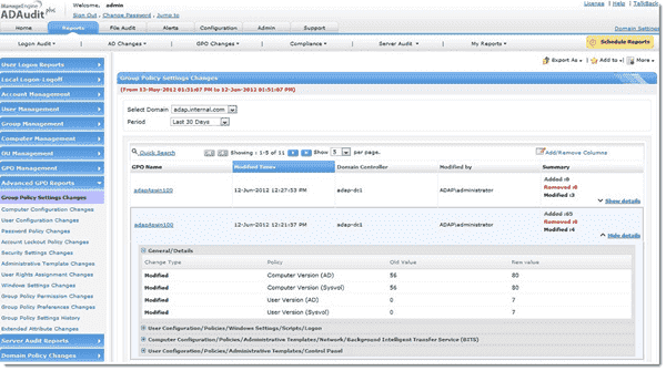 ManageEngine ADAudit Plus - Group Policy Settings Audit reporting