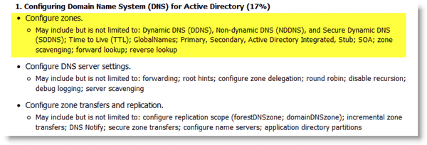 Microsoft Exam 70-640 - Configuring DNS Zones Domain - Subobjective 1