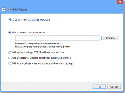Windows 8 - Find a printer