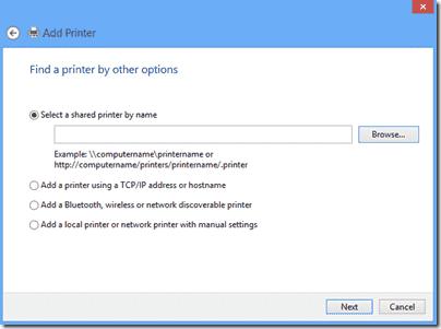 Windows 8 - Find a printer