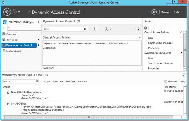 Windows Server 2012 - PowerShell History Viewer in ADAC