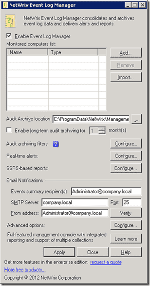 NetWrix Event Log Manager configuration dialog