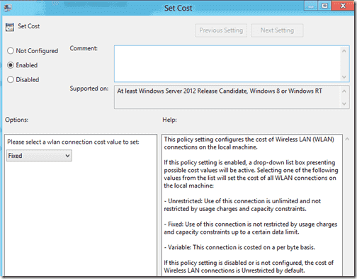 Windows 8 wireless connection cost