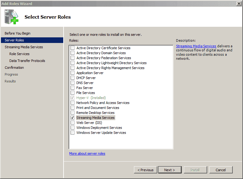 Windows Server 2008 R2 laptop - Enabling the Streaming Media-Service role after installing a patch
