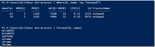 where-object and foreach-object in PowerShell 2.0