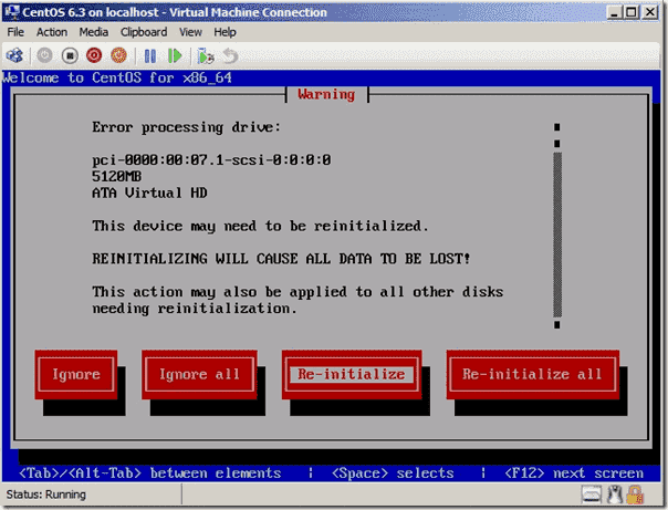 CentOS drive initialization