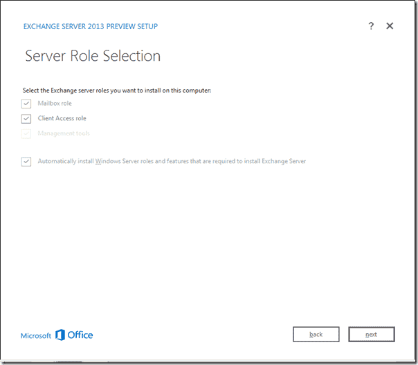 Exchange 2013 - Mailbox and Client Access Server role installation