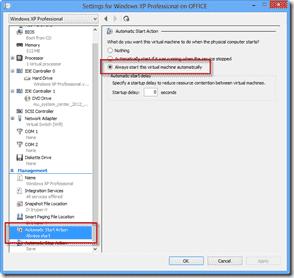 Windows 8 XP Mode - Always start this virtual machine automatically