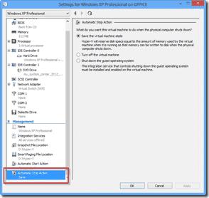 Windows 8 XP Mode  -Automatic Stop Action