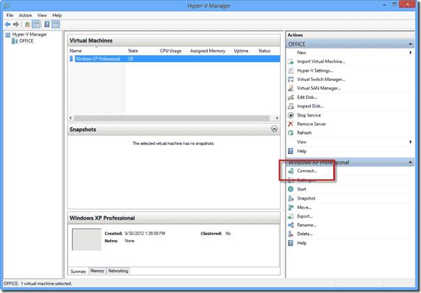 Windows 8 XP Mode - Connect to Virtual Machine