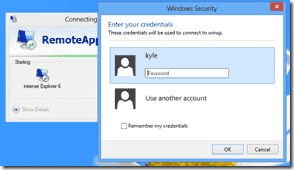 Windows 8 XP Mode - Enter your username and password