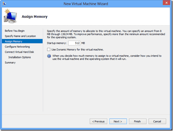 Windows 8 XP Mode - Startup memory