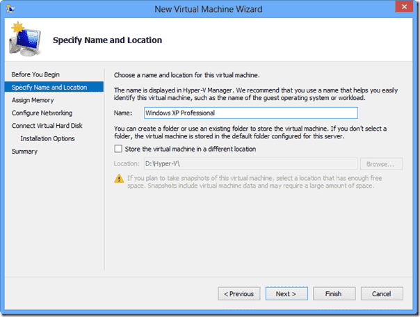 Windows 8 XP Mode  - Virtual Machine name