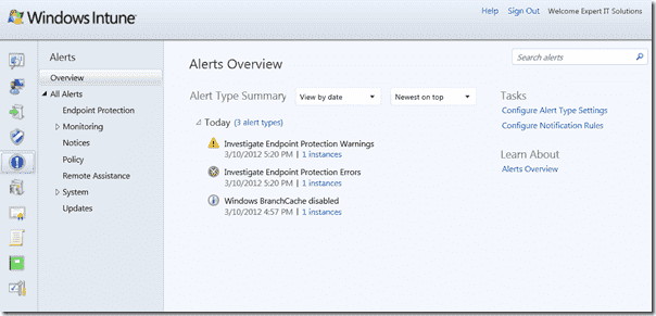 Windows Intune 3 - Alerts