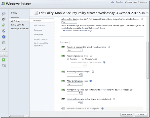 Windows Intune 3 - Mobile Security Policy