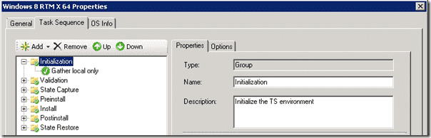 A sample Task Sequence deploying Windows 8