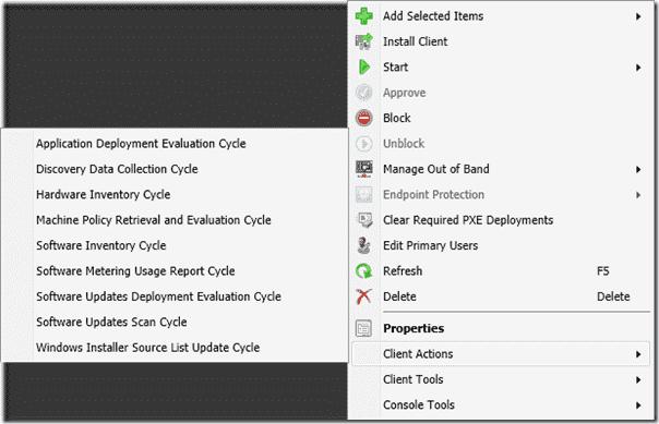 ConfigMgr 2012 PowerShell Right-Click Tools - Client Actions menu