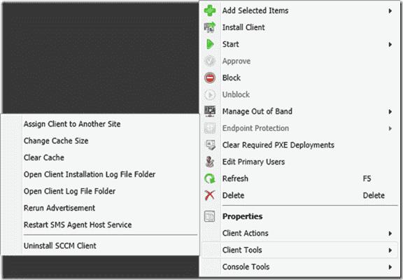 ConfigMgr 2012 PowerShell Right-Click Tools - Client Tools menu