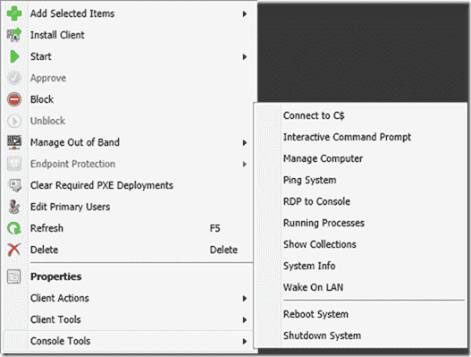 ConfigMgr 2012 PowerShell Right-Click Tools - Console Tools menu