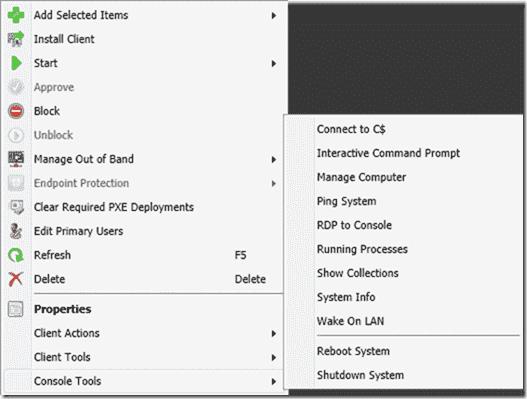 ConfigMgr 2012 PowerShell Right-Click Tools - Console Tools menu