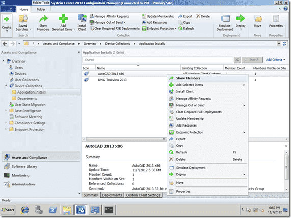 Configuration Manager 2012 Right-Click Tools - Default Collections Right-click Menu