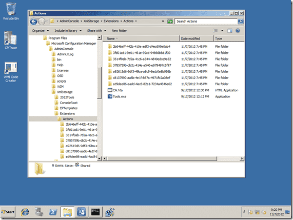 Configuration Manager 2012 Right-Click Tools - Extensions Folder