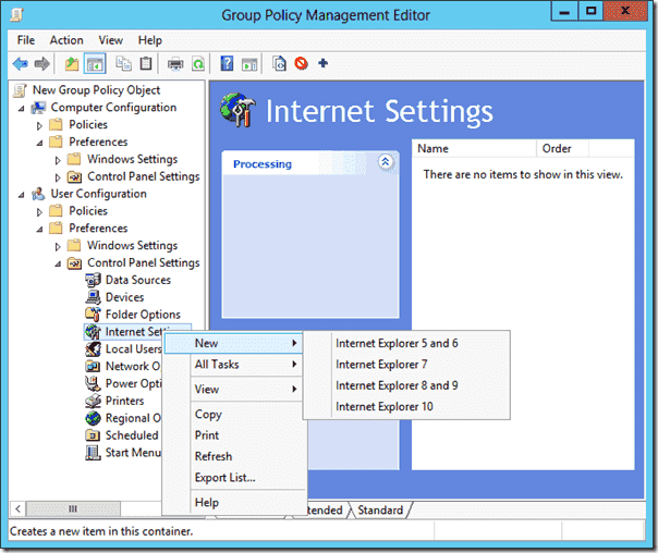 Group Policy Preferences for Internet Explorer