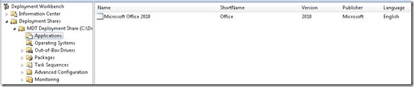 Office 2010 application listed