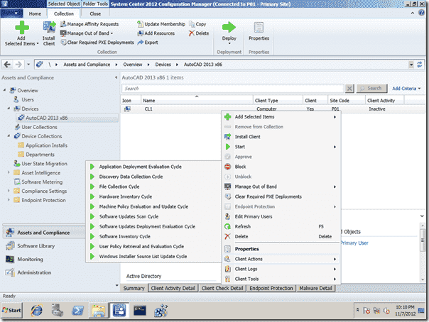 SCCM 2012 Right-Click Tools - Client Actions Menu