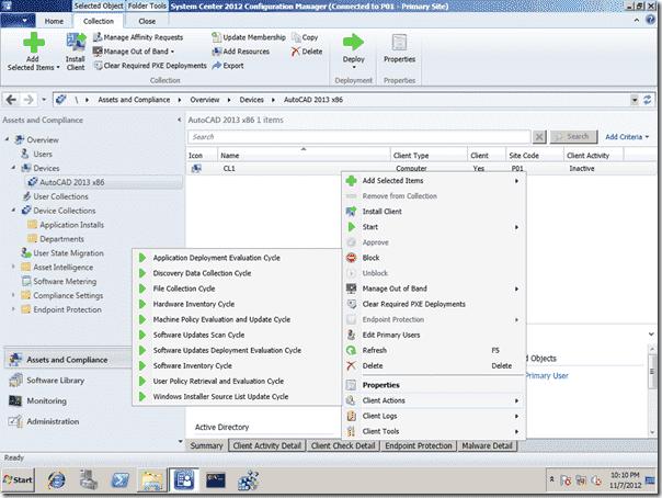 SCCM 2012 Right-Click Tools - Client Actions Menu
