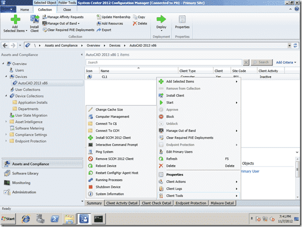 SCCM 2012 Right-Click Tools - Client Tools Menu