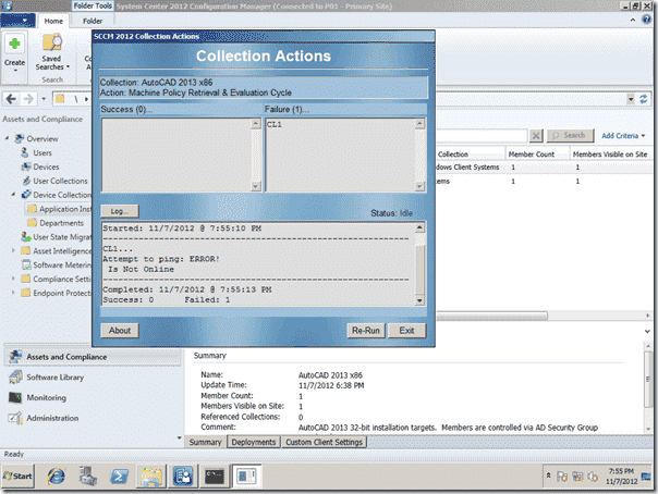SCCM 2012 Right-Click Tools - Collection - Machine Policy Refresh