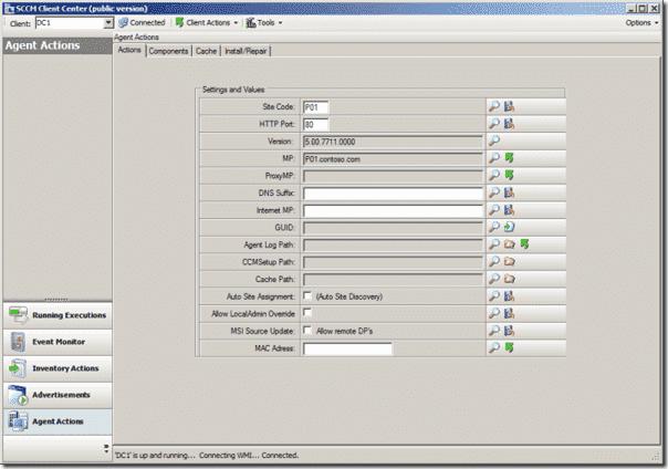 SCCM Client Center - Client Actions menu