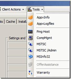 SCCM Client Center - Inventory Actions sidebar item