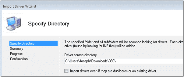 Specify the directory