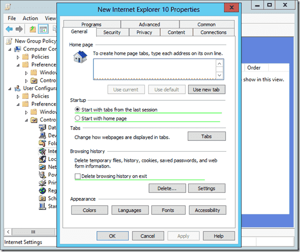 The General Tab of an Internet Explorer 10 Group Policy Preference